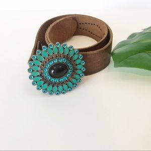 Leather Belt with Turquoise Flower Buckle